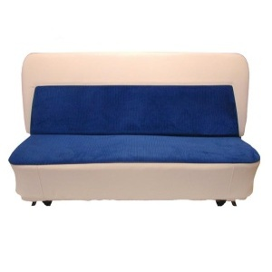 Ivory Vinyl with Blue Insert Seat Kit